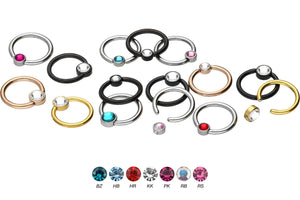 Titanium Closed Clamping Ball Ring Flat Disc Crystal piercinginspiration®