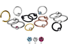 Upload the image to the gallery viewer, Titanium Closed Clamping Ball Ring Crystal piercinginspiration®
