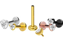 Load the image into the gallery viewer, Titanium Set Crystal Round Labret piercinginspiration®