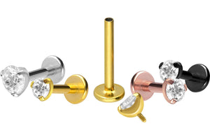 Titanium-Set Crystal Round Labret piercinginspiration®
