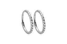 Upload the picture to the gallery viewer, Titanium Hoop Earrings Clicker Ring Pair of Mulitple Epoxy Crystals piercinginspiration®