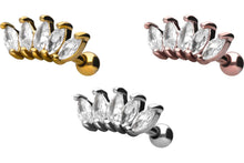 Upload the image to the gallery viewer, 5 crystals lotus flower ear piercing piercinginspiration®