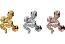Upload the image to the gallery viewer, snake ruby crystal eye ear piercing piercinginspiration®