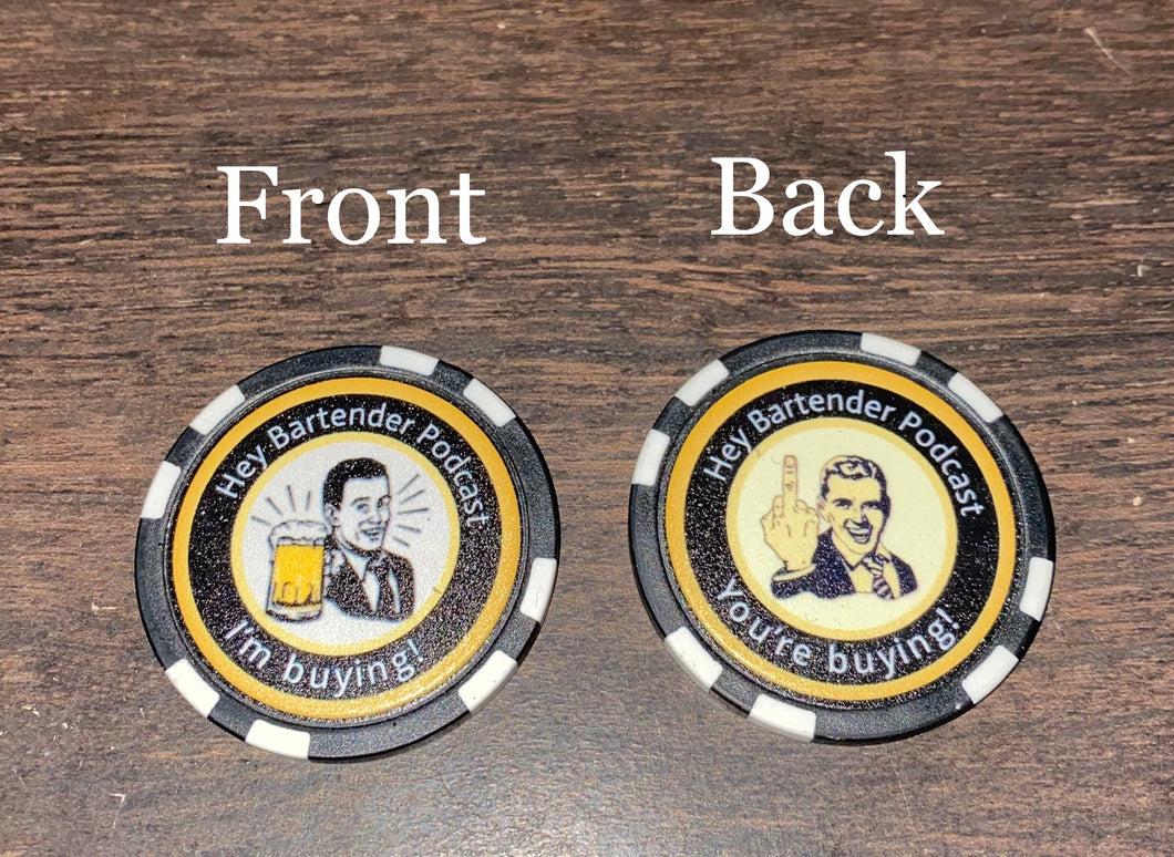 Hey Bartender Podcast Challenge Poker Chip