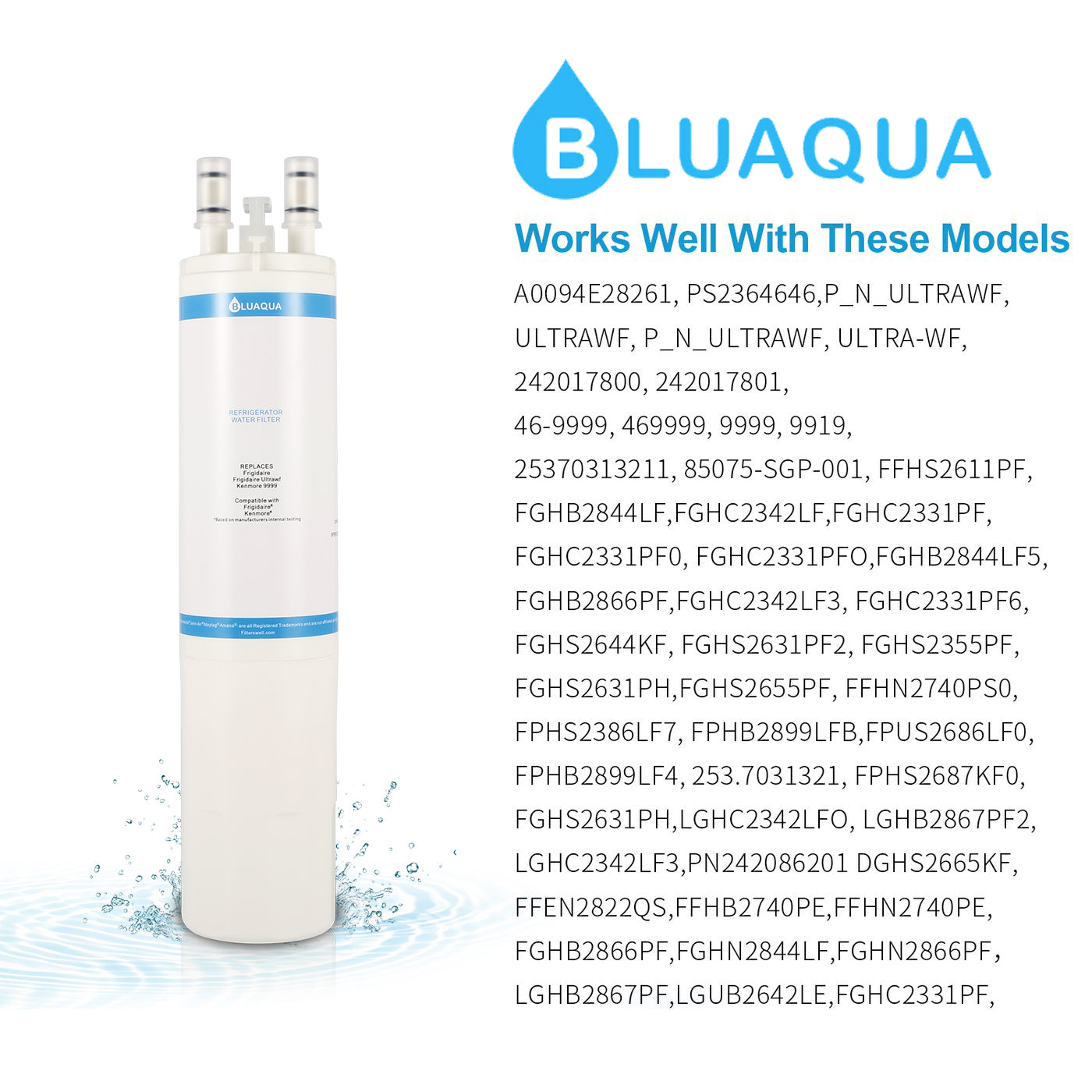 Substitute for kenmore water filter 046-9999  with Bluaqua ultrawf water filters
