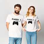 Player 1 Player 2 Matching Couple Shirts Summer Short Sleeve Couples Tshirts Valentines Day Shirt Men Women Anniversary Gift