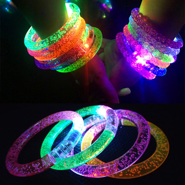 1PC Random Color Flash Bracelet LED Light Emitting Electronic Party Children's Toys Colorful Luminous Glowing Bracelet