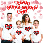 Plaid Love Heart Print Valentine Family Love Tshirt Mommy Daddy Daughter Son Matching T Shirt Mom Dad Kids Tees Party Wear