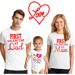1pcs Valentine's Day Dad&mom Tshirt Baby Romper First Valentine Family Party Clothes Mommy Daddy and Baby Cute Matching Outfits