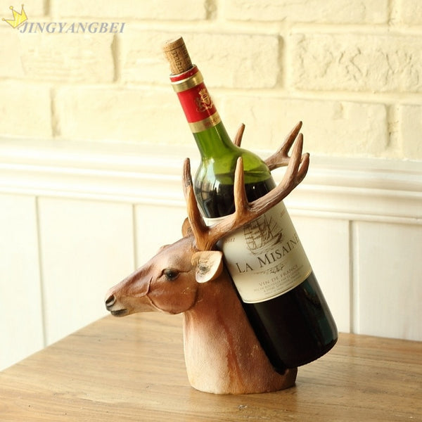 Deer Head Resin Craft Wine Holder Rack Wedding Christmas Gift - mydealsite
