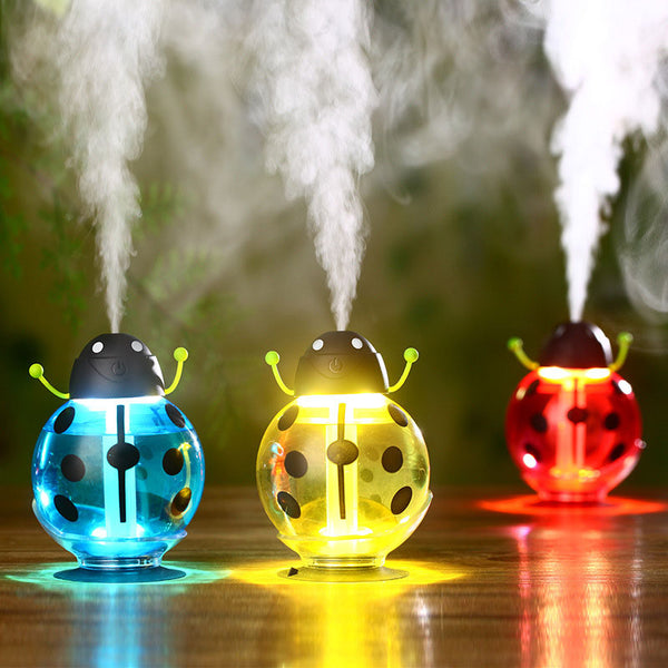 Mini Beetle Humidifier USB Air Freshener with LED Light 360 Degree Rotation for Office Home Car - mydealsite