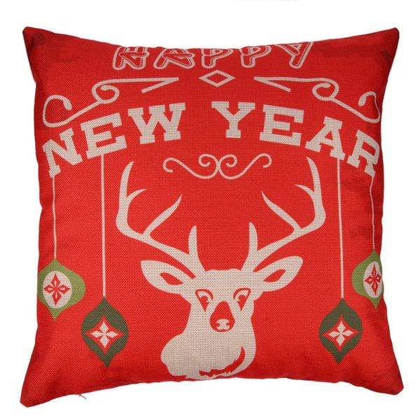 Merry Christmas Elk Pillow Covers Jute Cushion Cover Pillowcase Christmas Decoration for Home Square Linen Kerst Noel - mydealsite