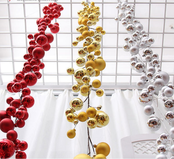 1.8Meters Gold/Red/Silver Ball Suspension christmas tree ornament Strap Garland - mydealsite