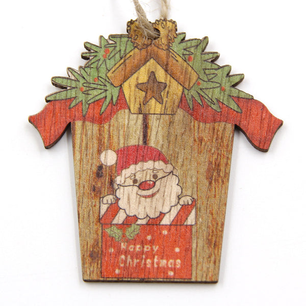 9PCS Creative House Christmas Tree Wooden Pendants Ornament - mydealsite
