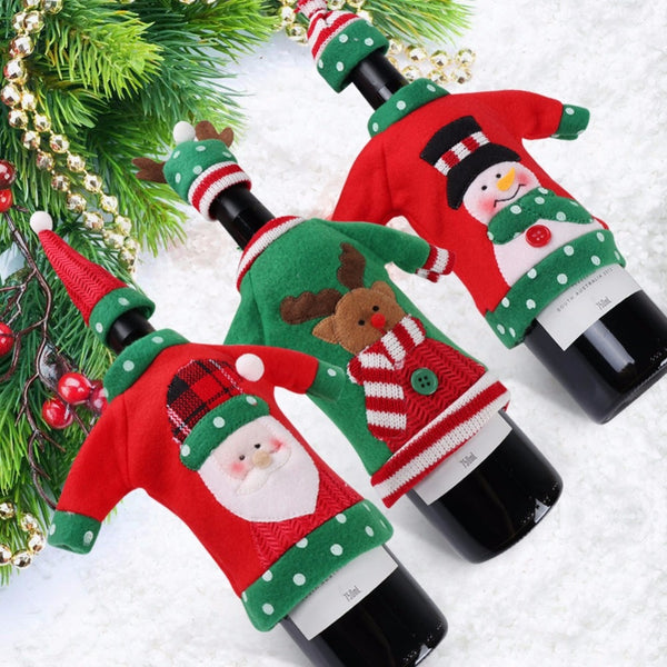 Ugly Christmas Sweater Wine Bottle Cover New Year - mydealsite