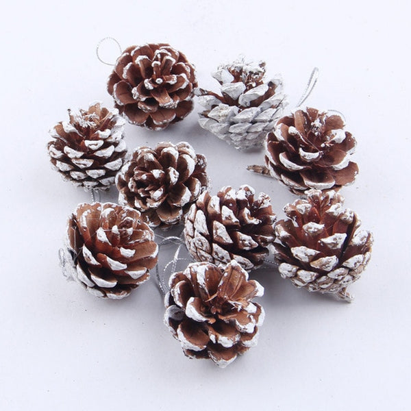 9pcs Christmas Pine Cones Bauble Tree Hanging Decoration Ornament