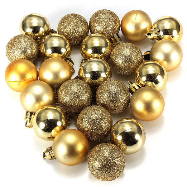 24 Pcs Gold Christmas Baubles Tree Plain and Glitter Ball - mydealsite