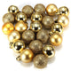24 Pcs Gold Christmas Baubles Tree Plain and Glitter Ball
