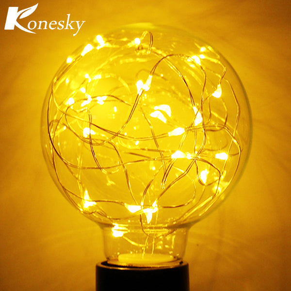 Vintage 0.8W Filament Copper Wire G80 LED Light Bulb E27 Base Christmas Warm White - mydealsite