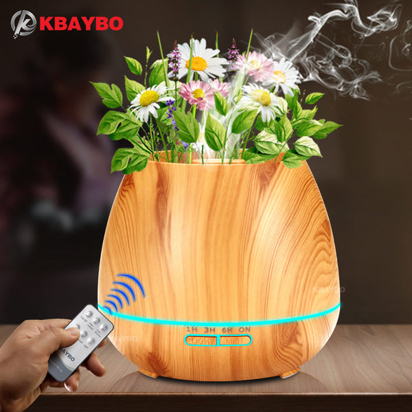 KBAYBO 550ml Aroma Essential Oil Diffuser Ultrasonic Air Humidifier with Wood Grain electric LED Lights aroma diffuser for home - mydealsite