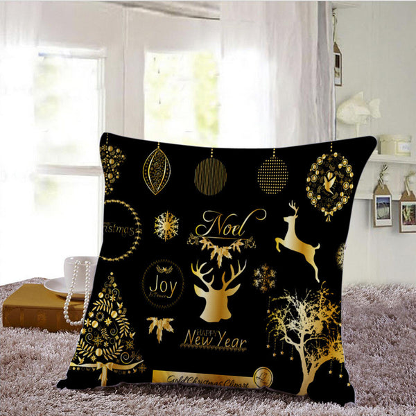 Christmas Cushion Cover Xmas Ambience Square Pillow Case Sofa Home Gifts - mydealsite