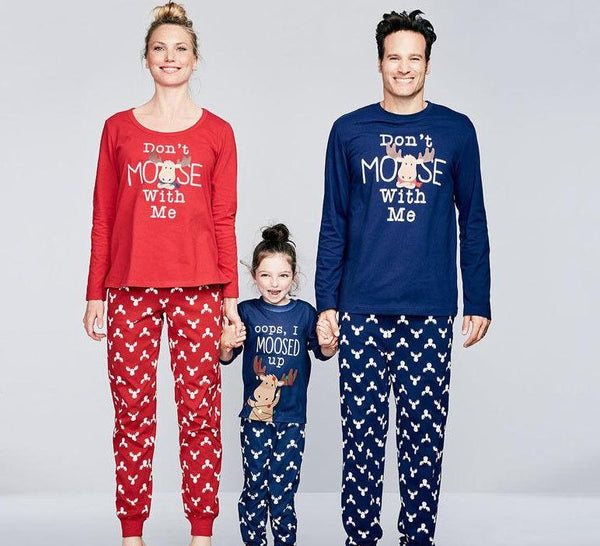 Matching Christmas Family Moose Pajama Sets - mydealsite