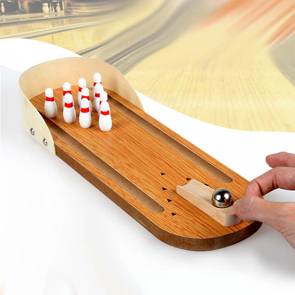 Peradix New Fashion Wooden Desktop Ten Bowling Skittles Christmas Stocking Kids Game Toy Exceed Three Years Old - mydealsite