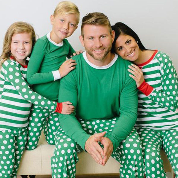 Family Christmas Sleepwear Matching Polka Dots Pajamas Sets Outfit for Mother Daughter Father Son Baby - mydealsite