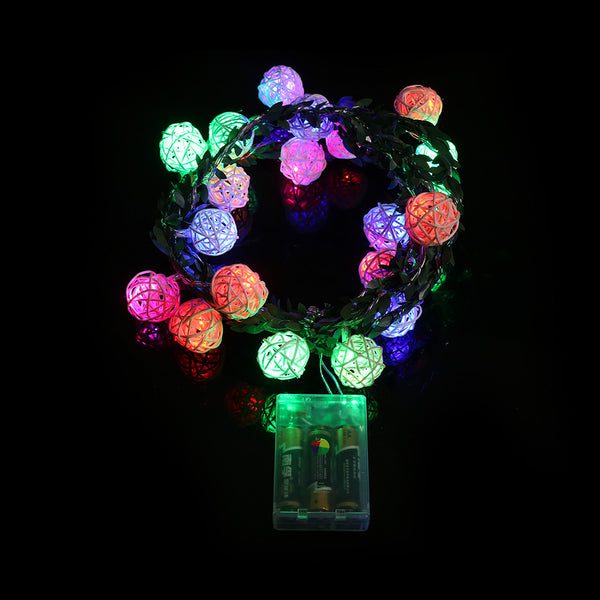 20-LED Rattan Ball String Light Fairy Lights For Christmas Lights Indoor Holiday Lighting - mydealsite