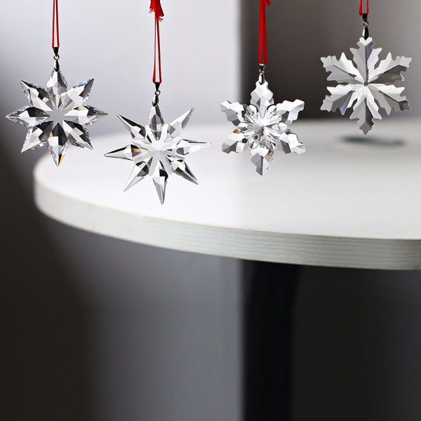 4pcs Christmas Snowflake Hanging Glass Pendant Ornaments - mydealsite