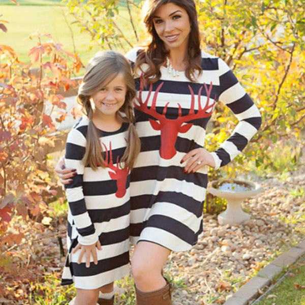 mommy and me Matching Mother Daughter Stripe Long Sleeve Deer Pattern Dress Christmas - mydealsite
