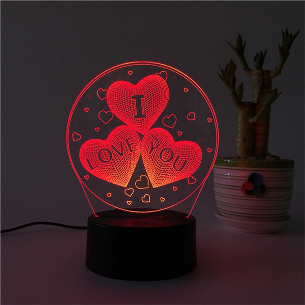 3D Triple Heart Shapes Multicolor LED Night Lamp Touch USB Remote Control - mydealsite