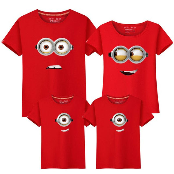 Family Matching Outfit Summer Short Sleeve T Shirt Top Clothes Cotton Cartoon Minions Mother Father Son daughter Dresses LD10052 - mydealsite