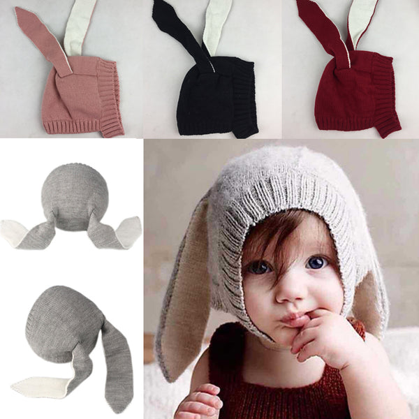 Knitted Rabbit Crochet Ear Beanie for Babies, Toddlers