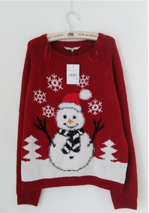 Ugly Christmas Sweater Snowman, snowflakes XL - mydealsite