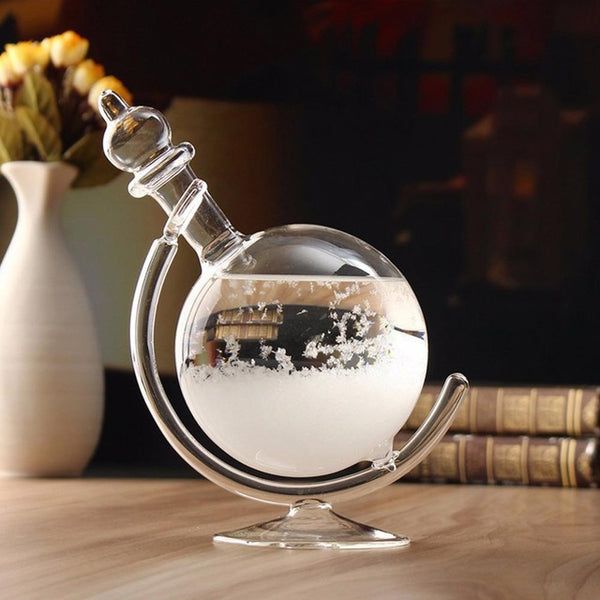 Weather Forecast Crystal Revolving Globe Shape Storm Glass with Base