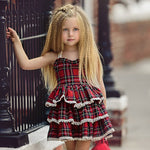 Cute Girl Suspenders Plaid Dress Christmas Gift