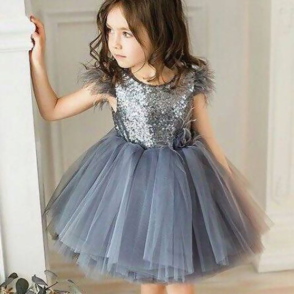 9182bded Toddler Baby Girl Princess Tassel Tulle Sequin Party Mini Dress