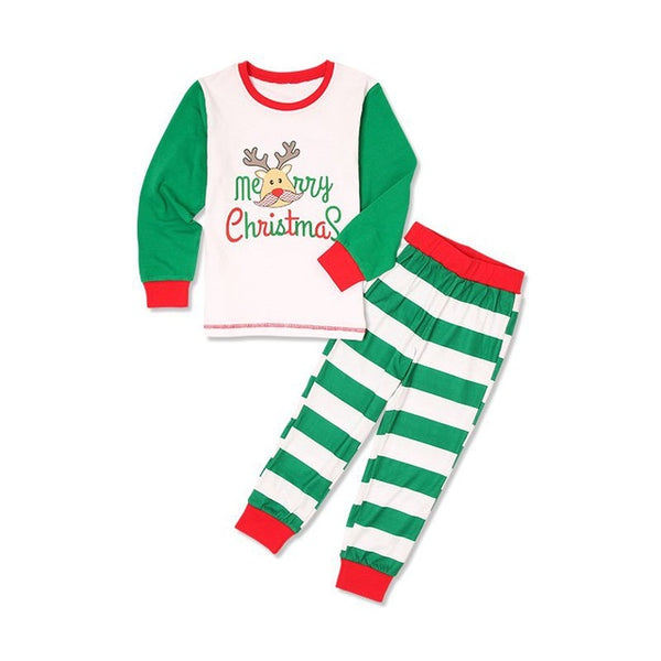 Christmas Family Matching Outfits Long Sleeve Stripe T-shirt+Pant Suits - mydealsite