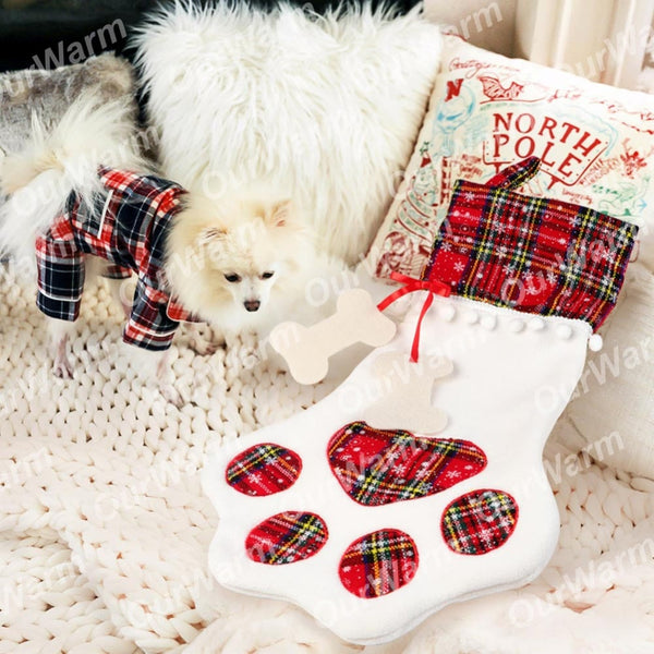 Large Plaid Paw Christmas Stocking for Dog Cat