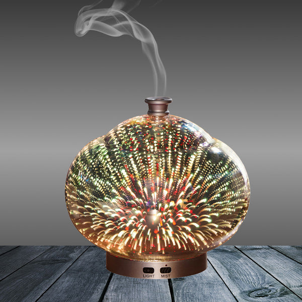 Aromatherapy Oil Diffuser 100mL 3D Essential Oil Diffuser Ultrasonic Aroma Humidifier with 7 Color Night Light - mydealsite