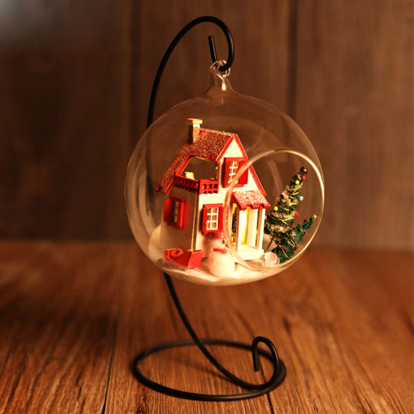 Miniature DIY House Kit Handmade Assembly Christmas Glassball Room With Furnitures Voice Controlled LED Light