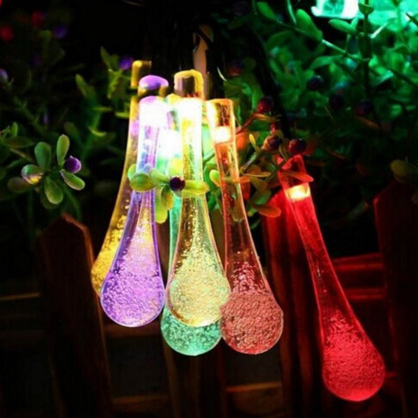 Premium Quality 30 LED Solar Christmas Lights Waterproof Water Drop Solar Fairy String Lights For Outdoor Garden - mydealsite
