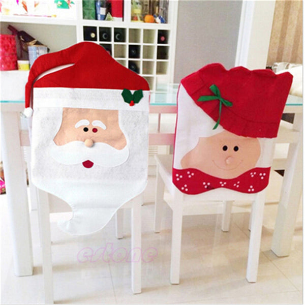 Santa Claus Mrs. Claus Caps Chair Covers Christmas Dinner Table Decoration - mydealsite