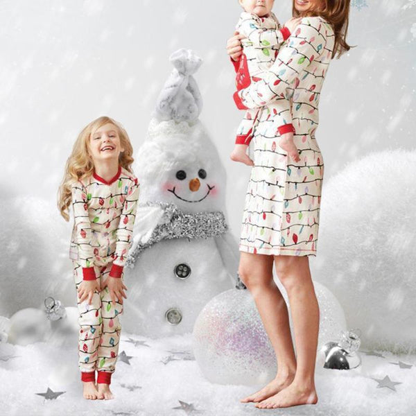 Family Christmas Pajama Matching Mother Daughter Dress Romper T-shirt Pants Family Look - mydealsite