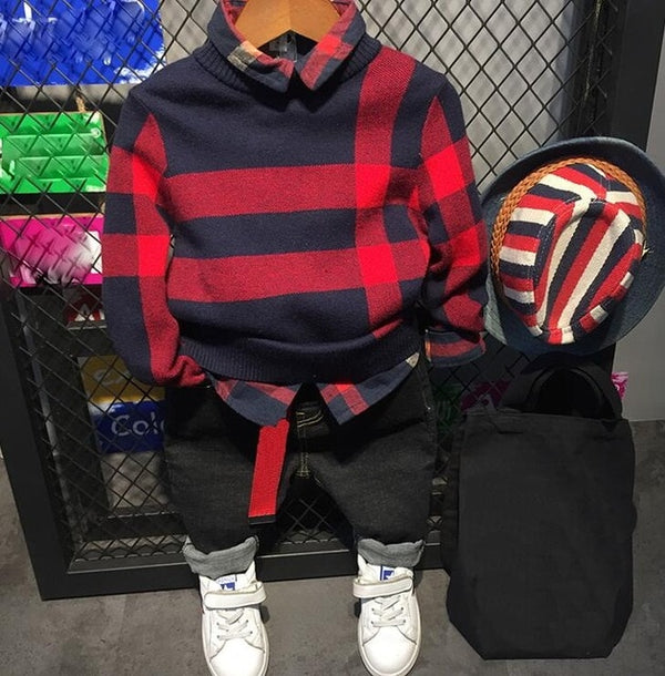 3 Pieces Baby Boy Plaid Knitted Sweater+ Shirt+ Jeans 2-6Y - mydealsite