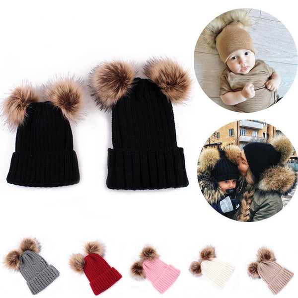 Matching Family Soft Hairball Beanie Hat for Adults Children - mydealsite