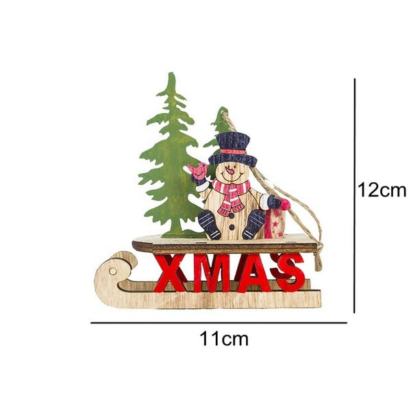 1PC Christmas Tree Sled Wooden Pendant Ornament Santa Claus/Snowman - mydealsite