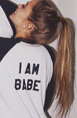Valentine Long Sleeve Women Men Ringer T-shirt If Lose Return to Babe/ I am Babe Letter Print Couple Matching T Shirts