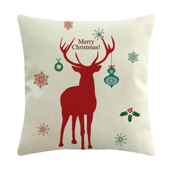Merry Christmas Printed Linen Cushion Cover Xmas Sofa Car Pillow Case Christmas Decoration for Home - mydealsite